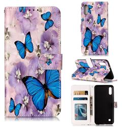 Purple Flowers Butterfly 3D Relief Oil PU Leather Wallet Case for Samsung Galaxy A10