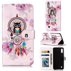 Wind Chimes Owl 3D Relief Oil PU Leather Wallet Case for Samsung Galaxy A10