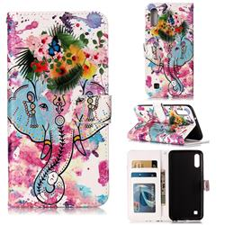 Flower Elephant 3D Relief Oil PU Leather Wallet Case for Samsung Galaxy A10