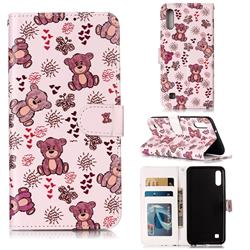 Cute Bear 3D Relief Oil PU Leather Wallet Case for Samsung Galaxy A10