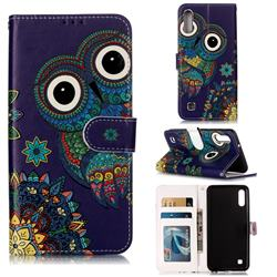 Folk Owl 3D Relief Oil PU Leather Wallet Case for Samsung Galaxy A10