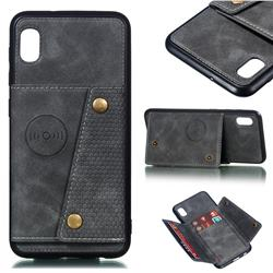 Retro Multifunction Card Slots Stand Leather Coated Phone Back Cover for Samsung Galaxy A10 - Gray