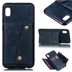 Retro Multifunction Card Slots Stand Leather Coated Phone Back Cover for Samsung Galaxy A10 - Blue