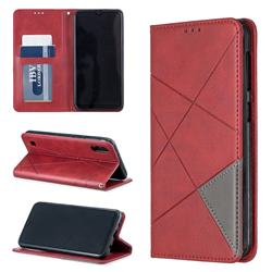 Prismatic Slim Magnetic Sucking Stitching Wallet Flip Cover for Samsung Galaxy A10 - Red