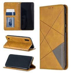Prismatic Slim Magnetic Sucking Stitching Wallet Flip Cover for Samsung Galaxy A10 - Yellow