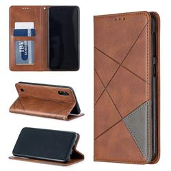 Prismatic Slim Magnetic Sucking Stitching Wallet Flip Cover for Samsung Galaxy A10 - Brown