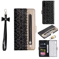 Luxury Lace Zipper Stitching Leather Phone Wallet Case for Samsung Galaxy A10 - Black