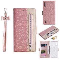 Luxury Lace Zipper Stitching Leather Phone Wallet Case for Samsung Galaxy A10 - Pink