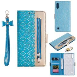 Luxury Lace Zipper Stitching Leather Phone Wallet Case for Samsung Galaxy A10 - Blue