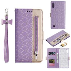 Luxury Lace Zipper Stitching Leather Phone Wallet Case for Samsung Galaxy A10 - Purple