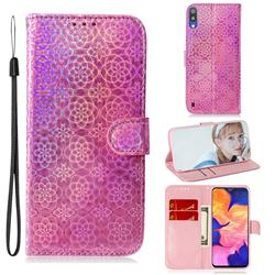 Laser Circle Shining Leather Wallet Phone Case for Samsung Galaxy A10 - Pink