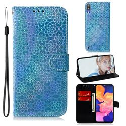 Laser Circle Shining Leather Wallet Phone Case for Samsung Galaxy A10 - Blue