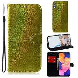 Laser Circle Shining Leather Wallet Phone Case for Samsung Galaxy A10 - Golden