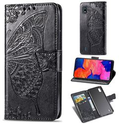 Embossing Mandala Flower Butterfly Leather Wallet Case for Samsung Galaxy A10 - Black
