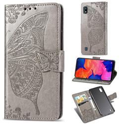 Embossing Mandala Flower Butterfly Leather Wallet Case for Samsung Galaxy A10 - Gray