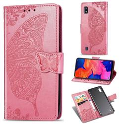 Embossing Mandala Flower Butterfly Leather Wallet Case for Samsung Galaxy A10 - Pink