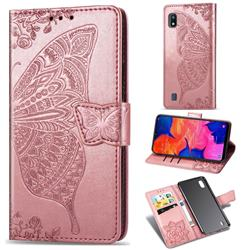 Embossing Mandala Flower Butterfly Leather Wallet Case for Samsung Galaxy A10 - Rose Gold