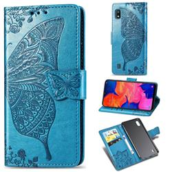 Embossing Mandala Flower Butterfly Leather Wallet Case for Samsung Galaxy A10 - Blue