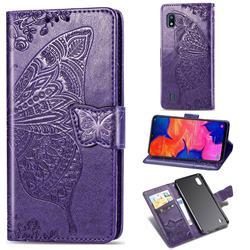 Embossing Mandala Flower Butterfly Leather Wallet Case for Samsung Galaxy A10 - Dark Purple