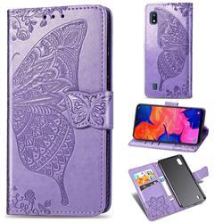 Embossing Mandala Flower Butterfly Leather Wallet Case for Samsung Galaxy A10 - Light Purple
