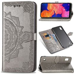 Embossing Imprint Mandala Flower Leather Wallet Case for Samsung Galaxy A10 - Gray