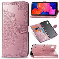 Embossing Imprint Mandala Flower Leather Wallet Case for Samsung Galaxy A10 - Rose Gold