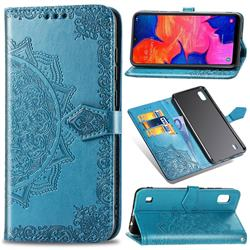 Embossing Imprint Mandala Flower Leather Wallet Case for Samsung Galaxy A10 - Blue