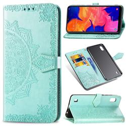Embossing Imprint Mandala Flower Leather Wallet Case for Samsung Galaxy A10 - Green