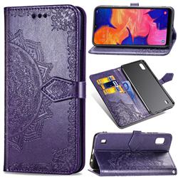 Embossing Imprint Mandala Flower Leather Wallet Case for Samsung Galaxy A10 - Purple