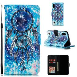 Blue Wind Chime 3D Painted Leather Phone Wallet Case for Samsung Galaxy A10