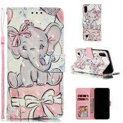 Bow Elephant 3D Painted Leather Phone Wallet Case for Samsung Galaxy A10