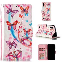 Ribbon Flying Butterfly 3D Painted Leather Phone Wallet Case for Samsung Galaxy A10