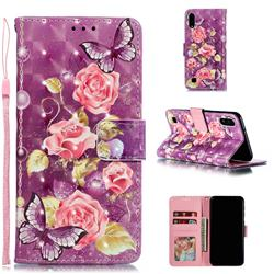 Purple Butterfly Flower 3D Painted Leather Phone Wallet Case for Samsung Galaxy A10