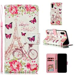 Bicycle Flower Tower 3D Painted Leather Phone Wallet Case for Samsung Galaxy A10