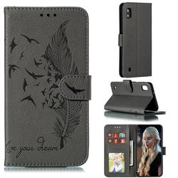 Intricate Embossing Lychee Feather Bird Leather Wallet Case for Samsung Galaxy A10 - Gray