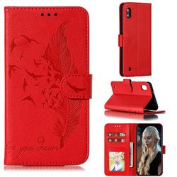 Intricate Embossing Lychee Feather Bird Leather Wallet Case for Samsung Galaxy A10 - Red