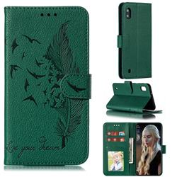 Intricate Embossing Lychee Feather Bird Leather Wallet Case for Samsung Galaxy A10 - Green
