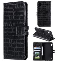Luxury Crocodile Magnetic Leather Wallet Phone Case for Samsung Galaxy A10 - Black