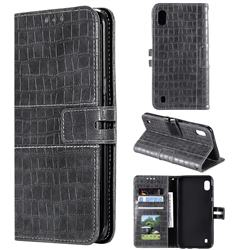 Luxury Crocodile Magnetic Leather Wallet Phone Case for Samsung Galaxy A10 - Gray