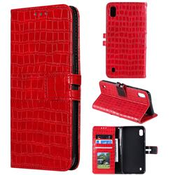 Luxury Crocodile Magnetic Leather Wallet Phone Case for Samsung Galaxy A10 - Red