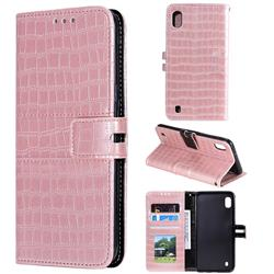 Luxury Crocodile Magnetic Leather Wallet Phone Case for Samsung Galaxy A10 - Rose Gold