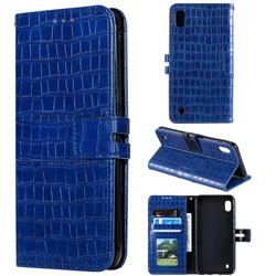 Luxury Crocodile Magnetic Leather Wallet Phone Case for Samsung Galaxy A10 - Blue