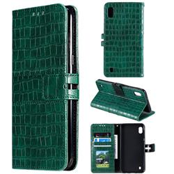 Luxury Crocodile Magnetic Leather Wallet Phone Case for Samsung Galaxy A10 - Green