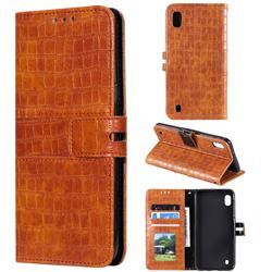 Luxury Crocodile Magnetic Leather Wallet Phone Case for Samsung Galaxy A10 - Brown
