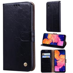 Luxury Retro Oil Wax PU Leather Wallet Phone Case for Samsung Galaxy A10 - Deep Black