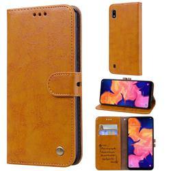 Luxury Retro Oil Wax PU Leather Wallet Phone Case for Samsung Galaxy A10 - Orange Yellow