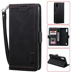 Luxury Retro Stitching Leather Wallet Phone Case for Samsung Galaxy A10 - Black