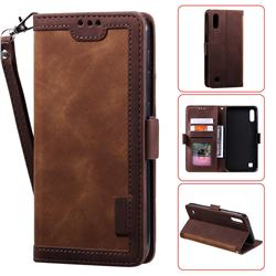 Luxury Retro Stitching Leather Wallet Phone Case for Samsung Galaxy A10 - Dark Brown