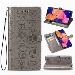 Embossing Dog Paw Kitten and Puppy Leather Wallet Case for Samsung Galaxy A10 - Gray