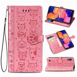 Embossing Dog Paw Kitten and Puppy Leather Wallet Case for Samsung Galaxy A10 - Pink